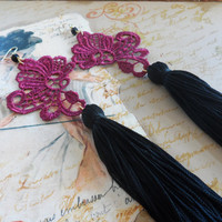 Extra Long high fashion earrings with lace and tassels