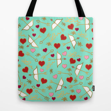 Cupid Love Aqua Mint Tote Bag by Lisa Argyropoulos