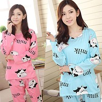 Autumn Women Casual Soft Long Sleeve Nightgown Sleepwear Cow Printed Pajamas Set Sexy Lingerie Sets