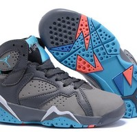 Nike Jordan Kids Air Jordan 7 Retro Gray/blue Kids Sneaker Shoe Us 11c 3y