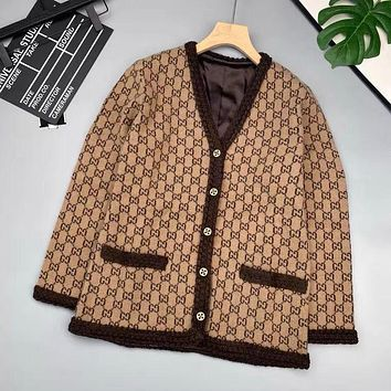 GUCCI Old flower letter Khaki embroidery cardigan woven twist V-neck single breasted knitted jacket