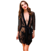 Sexy Women Lace Kimono Sleepwear Sheer Sexy Lingerie Bathrobe Belted Baby Dolls with G-String Black/Rose