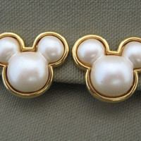 Disney Signed Mickey Mouse Pearl Earrings by ChickenLittleJewelry
