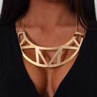 Pheonix Gold Cut Out Collar Necklace | Pink Boutique