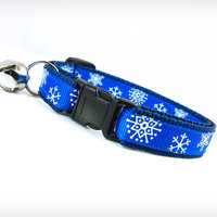 """Holiday Cat Collar - """"My Favorite Things"""" - Snowflakes on Cobalt Blue"""