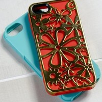 Tech Candy Hipster Collection Metal Effects Blooming 3-Piece Iphone 5 Hard Soft Case