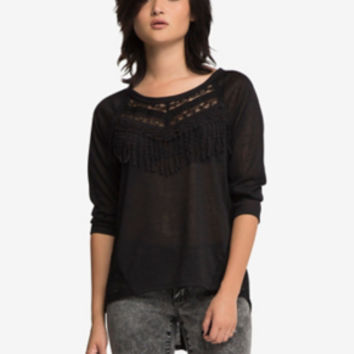 Raglan Lace Fringe Top