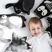 SET OF TWO animal toys/ cute screen printed cotton nursery animal pillow children kid stuffed animal toy black and white graphic design