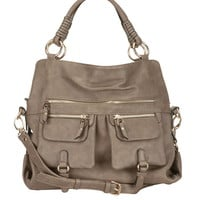 2 front pocket faux leather satchel