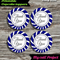 """Thank you - Cupcake toppers - Navy Blue - Instant Download - Party printable - Party favor - Candy Bar - 5 cm / 2"""""""