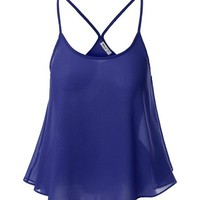 Sexy Chiffon Backless Cami O-neck Tank Tops For Women