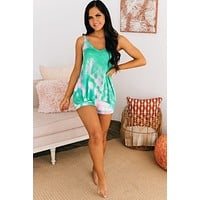 Down For The Count Tie Dye Two Piece Set (Jade/Pink)