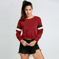 Women Casual O-Neck Long Sleeve Pullover Crop Hoodie Sweatshirt
