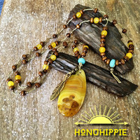 Crazy Lace agate long beaded necklace, boho hippie feather pendant