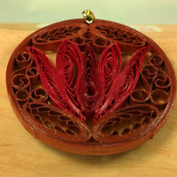 Red Lotus Necklace Copper Jewelry Copper Pendant- quilling jewelry, lotus pendant, red flower necklace, first anniversary, paper anniversary