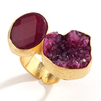 Druzy and Agate Stone Ring