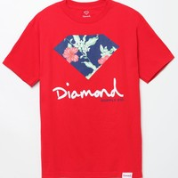 Diamond Supply Co Sign Chill Floral T-Shirt - Mens Tee - Red
