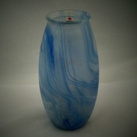 Blue glass vase with rich swirl effect. Heavy vase from German company Herner. Lovely deep and complex swirl.