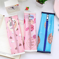 Cracker Pencil Case PU Leather pen bag Kawaii Stationery office school supply HU