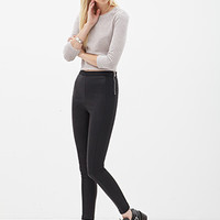 FOREVER 21 Open-Knit Cropped Sweater Blush/Grey Large