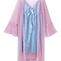 Pink Mesh Sleepwear And Blue Cami Dress