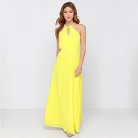 Yellow V-Neck A-Line Chiffon Maxi Dress
