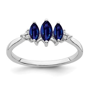 14k White Gold Marquise Created Sapphire and Real Diamond 3-stone Ring