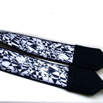 Mosaic Camera Strap. Geometric Camera Strap. Abstract  Camera Strap.  White Black Strap. Accessories