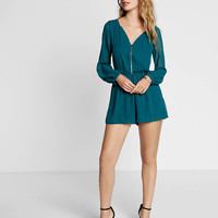 long sleeve zip front romper
