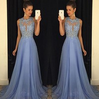 Gorgeous A-Line High Neck Lace Prom Dress Beading Evening Gown