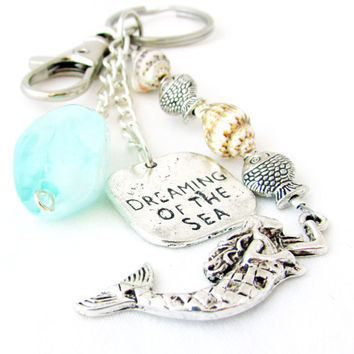 Dreaming of the Sea Keychain, Shell and Fish Keychain, Ocean Inspired Keyring, Car Accessory, Mermaid Keychain, Fish Keychain
