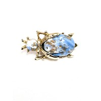 Blue and gold molded glass vintage beetle brooch figural bug mid century 1950's