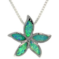 Sterling Silver Created Opal Starfish Necklace | Overstock.com