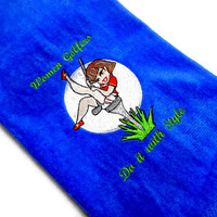 Lady Golfer, Golf Towel, Funny Golf, Embroidered Towel, Golf Gift for Her, Premium Towel, Grommet Towel, Funny Golf Towel, Personalize Name