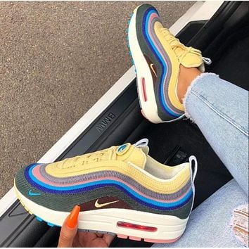 Nike AIR MAX 97 bullet tie-dye full palm air cushion Fashion trend comfortable and breathable cushioning sports running shoes
