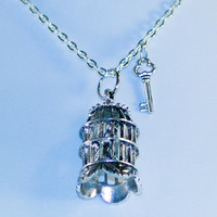 Bird in cage silver pendant necklace with chain and key. Freedom
