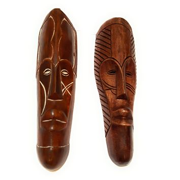 "2 Pieces of 12"" African Gabon Cameroon Wood Fang Mask in Brown"