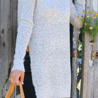Luxury Lounge Gray Oversize Marled Long Sleeve Sweater With High Side Slits