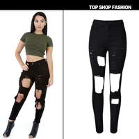 Stretch Ripped Holes Slim Irregular Hot Sale Denim White Strong Character High Waist [6365923652]