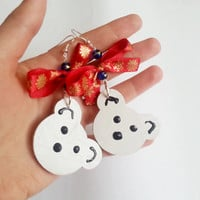 Christmas teddy bear wooden hand painted earrings gift idea for her gift package