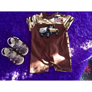 Walley and Willie By Peaches N Cream Camo Truck Infant Romper