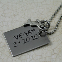 Hand Stamped Personalized Stainless Steel Vegan Anniversary Date Necklace with Leaping Rabbit Charm.  Vegan Jewelry