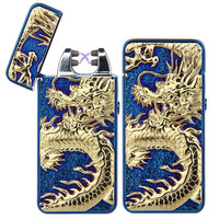 Dragon Design! Rechargeable Flameless Electric Double Plasma Windproof Lighter