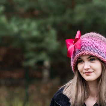 Colorful beanie,  Wool slouchy hat, Knit slouchy hat, Romantic chunky hat,  Woomens hat, Hand knit hat , Oversized  beanie,  Ready to ship