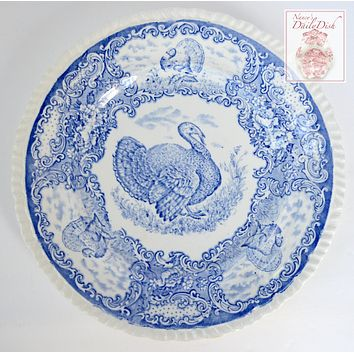 Antique Staffordshire Thanksgiving Turkey Plate Light Blue Transferware Plate