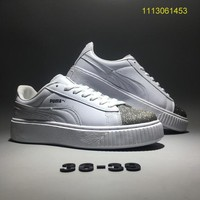 """""""Fenty Puma By Rihanna"""" Women Sport Casual Fashion Sequin Thick Bottom Piatforam Plate Shoes Small White Shoes Sneakers"""