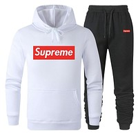 Supreme Popular Women Men Casual Print Hoodie Sweater Pants Sport Set Two-Piece White