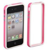 Pink Bumper Case Cover with Metal Buttons for Apple iPhone 4 4G 4s