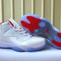 "Nike Air JORDAN 11 ""White&Red"" Men Women Basketball Sneaker"