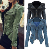 Cool Studded Shoulder Notched Lapel Denim Jacket Jeans Tuxedo 2014 New Winter/autumn Coat Blazer  SV001070